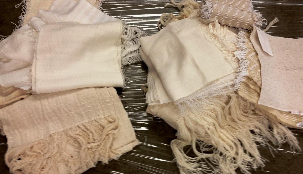 Undyed fabrics woven especially for this workshop.