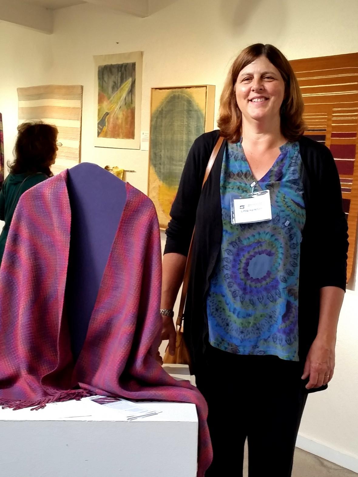 Standing near my silk shawl on opening night.