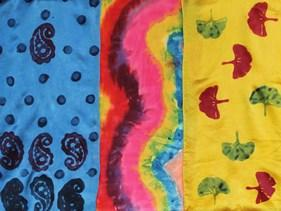 Silk scarves handpainted and stamped with natural dyes