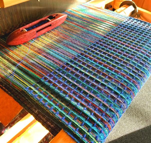 Colorful waffle weave on the loom